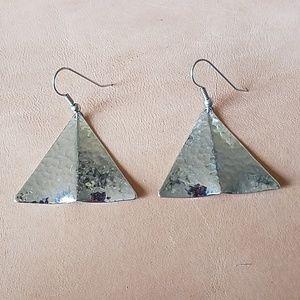 Shiny silver triangle earrings